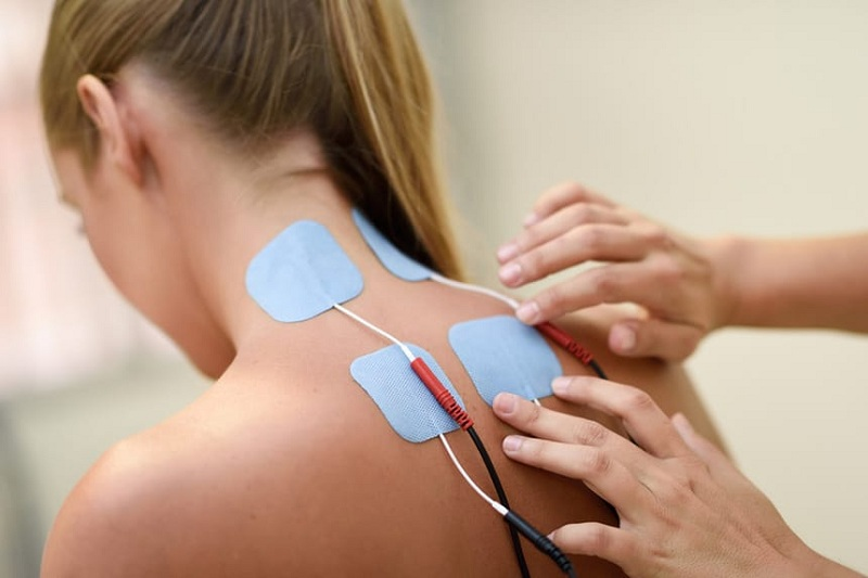 TENS Unit on Neck